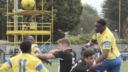 Action from Heybridge Swifts' (black shirts) 4-2 win at Haringey Borough in the previous round of th