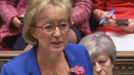 Prime Minister Theresa May listens as Leader of the Commons Andrea Leadsom responds to an urgent que