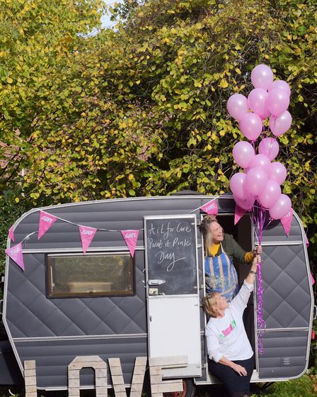 Pink and love helped to mark the celebrations for Art for Cure. Picture: SARAH LUCY BROWN