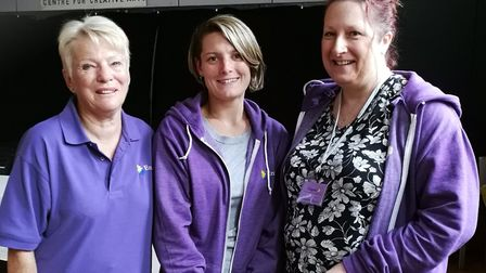 Founders of the Enigma group Linda Attwood (left) and Dani Davis (right) with group member Jodi Pipe