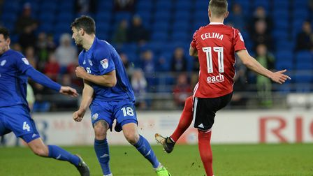 Bersant Celina scores at Cardiff Picture: PAGEPIX