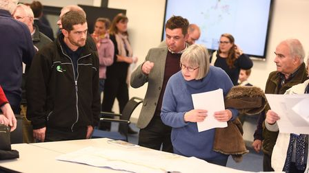 Melton resident discuss road closure plane with housing developers. Picture: GREGG BROWN
