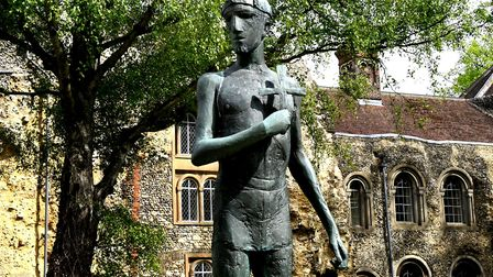 The statue of St Edmund in front of the Abbey West Front in Bury St Edmunds PICTURE ANDY ABBOTT