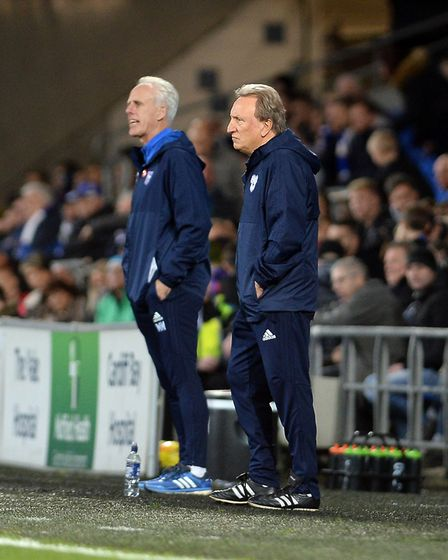 Ipswich Manager Mick McCarthy in Cardiff last night with Neil Warnock Picture Pagepix