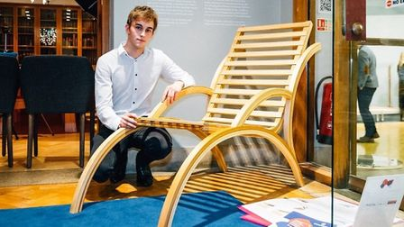 George Mannell who is the joint winner of The Furniture Makers' Company School Design prize for his