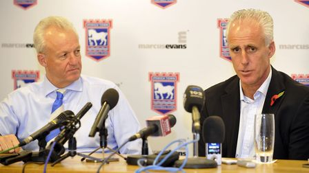 Mick McCarthy on the day he was unveiled at Portman Road, with former CEO Simon Clegg. Picture: ARCH