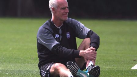 Mick McCarthy watches Town U23s v Crewe at Playford Road. Picture: ROSS HALLS