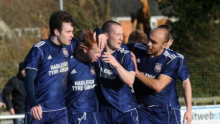 Shane Wardley, second left, in action as a player for Hadleigh. Now he is back as manager.