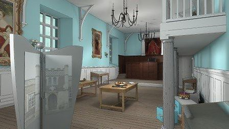 An artist's impression of the court room, at the Guildhall, in Bury St Edmunds