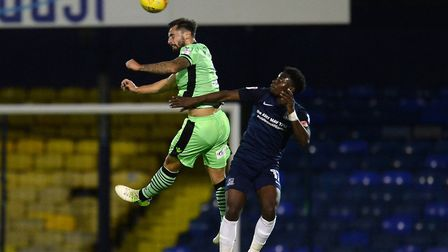 Lewis Kinsella wins a commanding header at Southend. Kinsella played the full 90 minutes in a 2-0 de