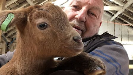 Geoff Stevens of Pathways Care Farm, pictured with Amos the goat. Picture: GEOFF STEVENS