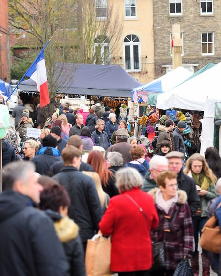 Crowds at last year's Bury St Edmunds Christmas Fayre. Picture: GREGG BROWN