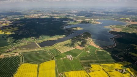 Aerial view of Abberton Reservoir which the brook flows in to.