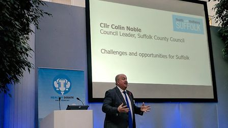 Suffolk County Council leader Colin Noble speaking at the Ageing Well in Suffolk conference. Picture