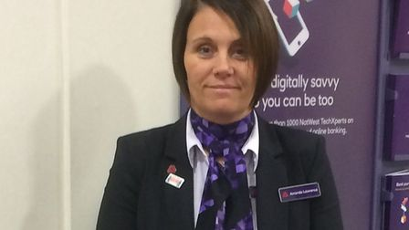 Amanda Lawrence who has been appointed as community banker for Suffolk by NatWest. Amanda is holding