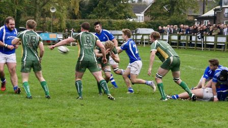 Action from Diss Rugby Club's 34-34 draw with Saffron Walden in London One North.