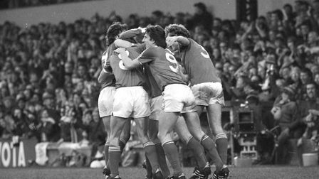 Ipswich Town players celebrate one of the three goals in the blues 3-1 win over Southampton in Novem