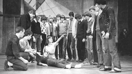 Pupils at Northgate High School reharsing their West End Story Show in November 1979
