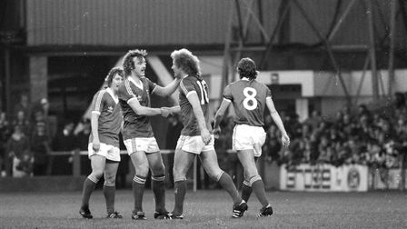 Alan Brazil is congrulated for his goal by team-mate Kevin Beattie as Ipswich beat Southampton 3-1 a