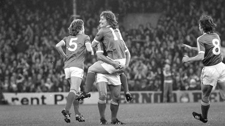 Eric Gates celebrates his goal with his Ipswich Town team-mates as the blues beat Southamtpon 3-0 at