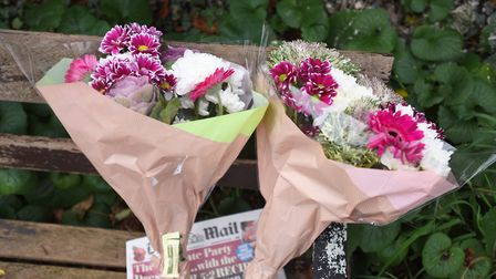 Tributes left at the scene in Long Melford Road, Sudbury, between Abbey Road and Chaucer Road, after