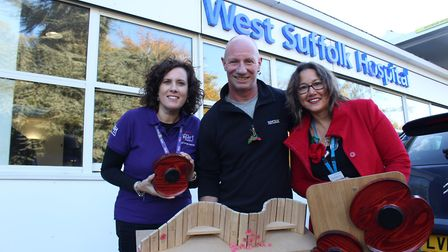Pictured at the West Suffolk Hospital, in Bury St Edmunds, is enginnering artist Denn Humphrey with