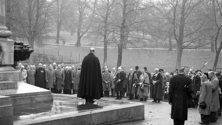The Remembrance Day service on Christchurch Park, Ipswich, in November 1963, with the Mayor John Ste