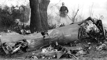 The wreckage of the German Dornier bomber, which crashed close to the edge of Gippeswyk Park, Ipswic