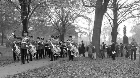 A military band at the annual Remembrance Day service on Christchurch Park, Ipswich, in November 196