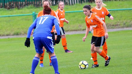 Ipswich Town winger Zoe Cossey on the attack for Town. Picture: ROSS HALLS