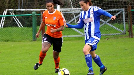 Ipswich Town forward Natasha Thomas during the 2-1 win. Picture: ROSS HALLS