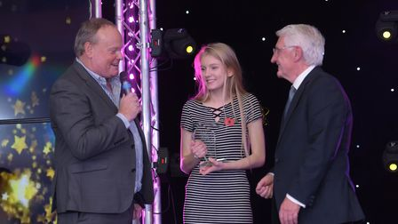 Overall Star of Suffolk 2017, Eve Brooks-Parkin, receives her award. Picture: SARAH LUCY BROWN