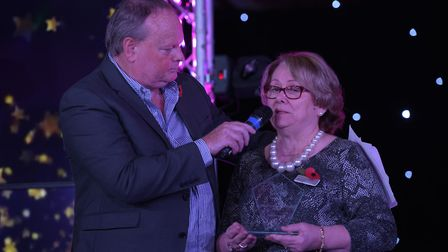 Diana Porter on stage with Mark Murphy receiving her special recognition award. Picture: SARAH LU