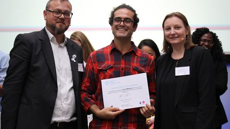 Chris Mastricci receives his certificate from Digby Chacksfield from the Eastern Enterprise Hub and
