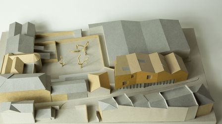A model of the Gainsborough's House plans by architects ZMMA. The new build gallery is bottom right.