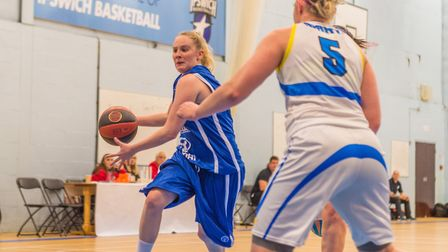 Ipswich's Harriet Welham on the way to the hoop against Mansfield. Picture: PAVEL KRICKA
