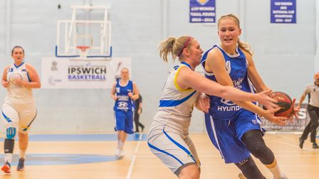 Ipswich's Esther Little attacks the basket in the Suffolk side's big win over Mansfield. Picture: PA