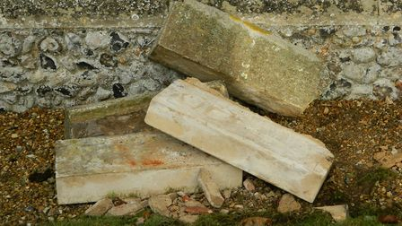 Damage done by lead thieves at St John's church, Elmswell. Picture: REV PETER GOODRIDGE