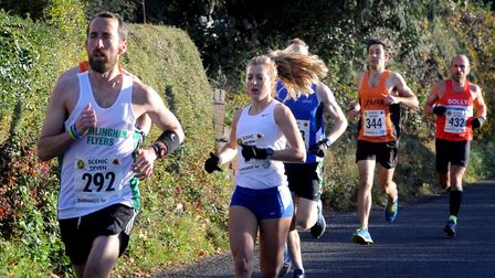 Framlingham Flyers' Jim Last, who finished second, is followed by ladies' winner Holly Archer as the