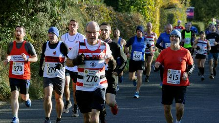 Runners in the Stowmarket Striders Scenic Seven, heading through Onehouse on Sunday Picture: ANDY A