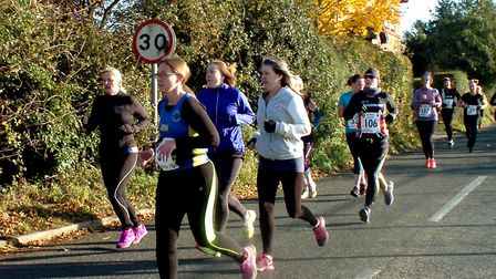 Bright conditions greeted a bumper field at the Stowmarket Striders Scenic Seven road race. Picture: