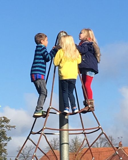 Youngsters try out the new equipment. Picture: STOWMARKET TOWN COUNCIL