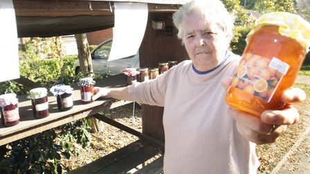 Margie Saker with her jam stall at Yoxford. Picture: NIGE BROWN