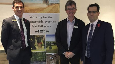 Giles Hanglin, head of Savills rural research, Richard Anscombe, chief executive of Fram Farmers and