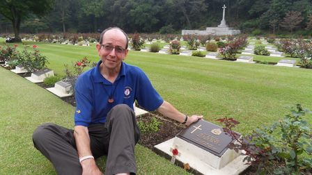 Paul Murray visited the grave of Private Raymond Suttle to place a cross carved from a Hadleigh chur