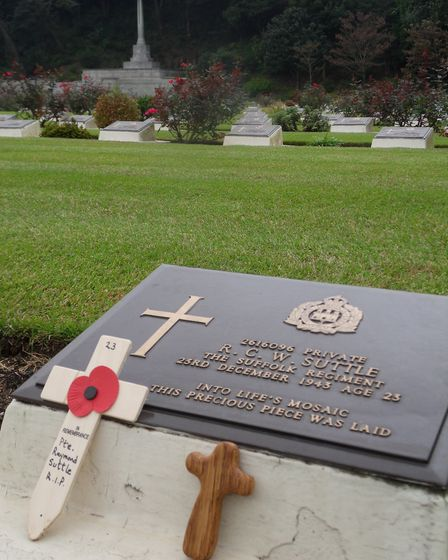Private Suttle's grave at the Commonwealth War Cemetery at Yokohama. PIcture: PAUL MURRAY