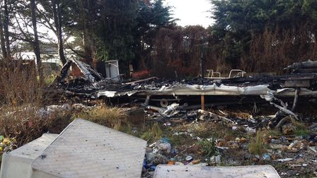 The caravan was completely destroyed in the fire. Picture: GINA WILLIAMS