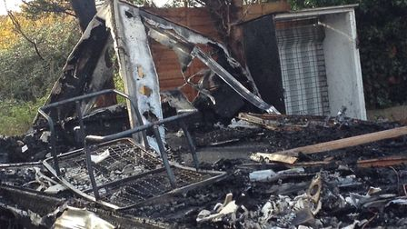 A static caravan was completely destroyed by fire in Jaywick in the early hours of this morning. Pic