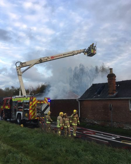 The county's turntable ladder was also sent to Monks Eleigh. Picture: CONTRIBUTED