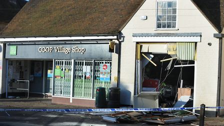 The scene of the ram raid at the Co-oP Village Shop in Hall Street, Long Melford Picture: ANDY AB